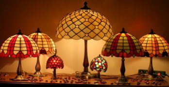 Desk Lamps made with Art Glass